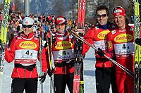 Kombinert<br /> Seefeld Østerrike<br /> 14.01.2011<br /> Foto: Gepa/Digitalsport<br /> NORWAY ONLY<br /> <br /> FIS Weltcup. Bild zeigt Håvard Klemetsen, Jan Schmid, Magnus Moan und Mikko Kokslien (NOR).