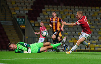 Lincoln City's Anthony Scully battles with Bradford City's Richard O'Donnell<br /> <br /> Photographer Chris Vaughan/CameraSport<br /> <br /> Carabao Cup Second Round Northern Section - Bradford City v Lincoln City - Tuesday 15th September 2020 - Valley Parade - Bradford<br />  <br /> World Copyright © 2020 CameraSport. All rights reserved. 43 Linden Ave. Countesthorpe. Leicester. England. LE8 5PG - Tel: +44 (0) 116 277 4147 - admin@camerasport.com - www.camerasport.com