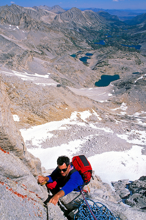 Climber on the North Arete of Bear Creek Spire, John Muir Wilderness, Sierra Nevada Mountains, California