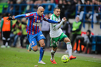 Yohann MOLLO / Ala Eddine YAHIA - 01.02.2015 - Caen / Saint Etienne - 23eme journee de Ligue 1 -<br />Photo : Vincent Michel / Icon Sport
