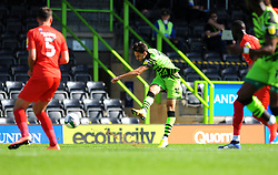 Aaron Collins of Forest Green Rovers shoots at goal- Mandatory by-line: Nizaam Jones/JMP - 05/09/2020 - FOOTBALL - New Lawn Stadium - Nailsworth, England - Forest Green Rovers v Leyton Orient - Carabao Cup