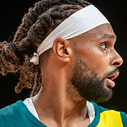 TOKYO, JAPAN - JULY 25: Patty Mills #5 of Australia during the Australia V Nigeria basketball preliminary round match at the Saitama Super Arena at the Tokyo 2020 Summer Olympic Games on July 25, 2021 in Tokyo, Japan. (Photo by Tim Clayton/Corbis via Getty Images)