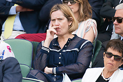 © Licensed to London News Pictures. 12/07/2018. London, UK. Amber Rudd watches the women's semi-finals round singles draw of the Wimbledon Tennis Championships 2018, at the All England Lawn Tennis and Croquet Club. Photo credit: Ray Tang/LNP