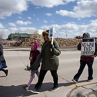 Marchers crossing the Miyamura bridge during the Martin Luther King Jr. march, Monday, Jan. 21.