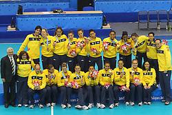Equipe do handebol feminino comemora a medalha de ouro após vencer a final entre Brasil e Argentina válida pelos jogos Pan-Americanos de Guadalajara 2011. FOTO: Jefferson Bernardes/Preview.com