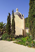 exterior of the DOMINUS FLEVIT church, on mount olives Jerusalem, Israel.  One of the newest churches in Jerusalem, constructed in 1955. By tradition, the church is located in the spot were Jesus wept on his approach to the holy city. It is shapes as a tear