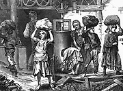 Children carrying loads of clay in the brickyards of the English Midlands. It was estimated that at this time there were between 20,000 and 30,000 children from 5 to 16 at work in British brickyards.  From 'The Graphic', London, 27 May, 1871. Wood engraving.