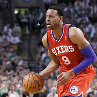 26 May 2012: Philadelphia Sixers small forward Andre Iguodala (9) looks to pass the ball during the Boston Celtics 85-75 victory over the Philadelphia Sixer, in Game 7 of the Eastern Conference semifinals playoff series, at the TD Banknorth Garden, Boston, Massachusetts, USA.