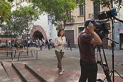 © Licensed to London News Pictures. 26/04/2016. BARCELONA, SPAIN.  <br /> CNN filming Families and friends occupying the CEIP Josep Maria Jujol school that will be used as polling  stations for the independence referendum that is set to take place on Sunday 1st October 2017. The government have told the police to close down the schools at 0600 hours on the 1st October.  The Spanish government have deemed the referendum illegal and against the constitution of Spain.<br /> Photo credit: RICH BOWEN/ LNP