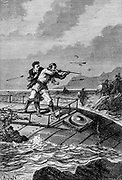 Conseil took up his gun, and aimed at a savage who was poising his sling at<br /> ten yards from him From the Book Twenty thousand leagues under the seas, or, The marvelous and exciting adventures of Pierre Aronnax, Conseil his servant, and Ned Land, a Canadian harpooner by Verne, Jules, 1828-1905 Published in Boston by J.R. Osgood in 1875