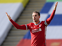 Football - 2020 / 2021 Premier League - Leicester City vs Liverpool - King Power Stadium<br /> <br /> Liverpool's Jordan Henderson protests as Leicester City equalise.<br /> <br /> COLORSPORT/ASHLEY WESTERN