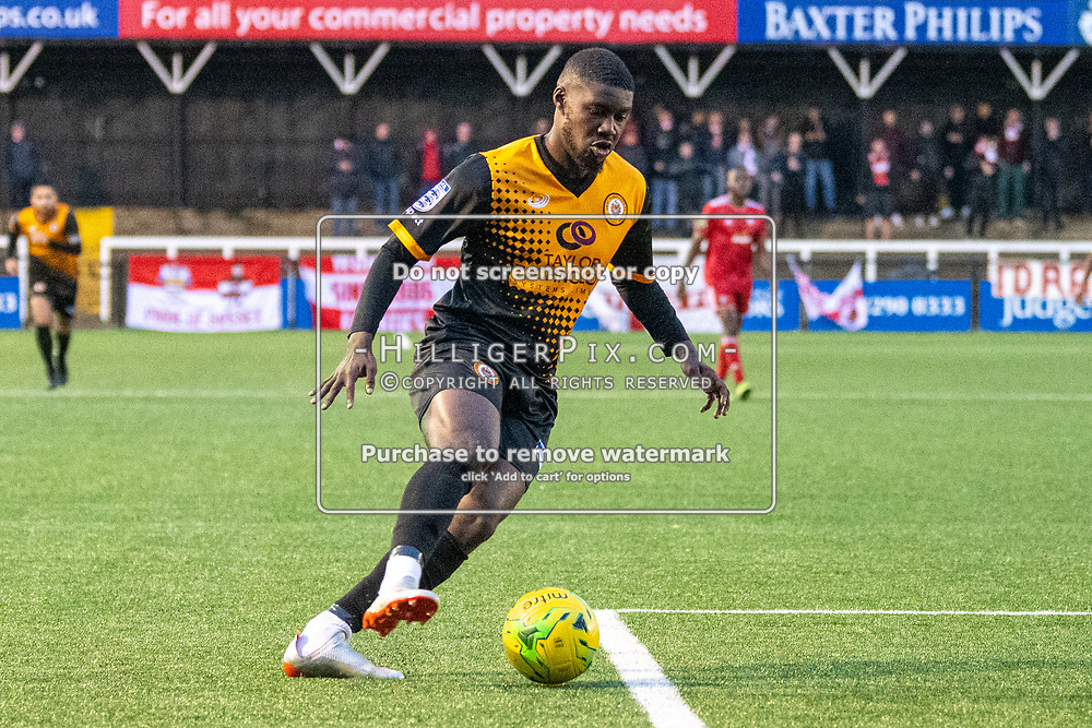 BROMLEY, UK - NOVEMBER 02: Ben Mundelle, of Cray Wanderers FC, cuts into the box during the BetVictor Isthmian Premier League match between Cray Wanderers and Worthing at Hayes Lane on November 2, 2019 in Bromley, UK. <br /> (Photo: Jon Hilliger)