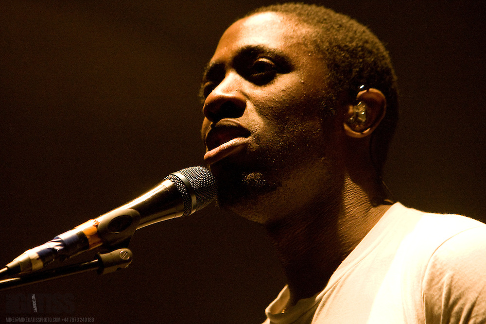 Kele Okereke of Bloc Party performing live at the Victoria Hall, Stoke-on-Trent, Staffordshire, United Kingdom, 2009-10-14