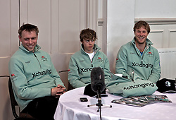 © Licensed to London News Pictures. 05/04/2012. London, U.K..Steve Trapmore (l), Ed Bosson (m), and David Nelson (r) from The Cambridge crew at The Xchanging Oxford & Cambridge University Boat Race - press conference. The crews meet the press to discuss the boat race on saturday 7th April...Photo credit : Rich Bowen/LNP
