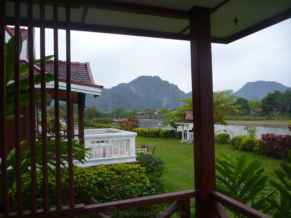 Vang Vieng, Laos. Hotel room overlooking the Nam Song River.