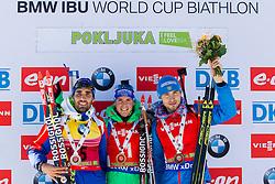 Martin Fourcade (FRA), Simon Schempp (GER) and Anton Shipulin (RUS) competes during Men 12,5 km Pursuit at day 3 of IBU Biathlon World Cup 2015/16 Pokljuka, on December 19, 2015 in Rudno polje, Pokljuka, Slovenia. Photo by Urban Urbanc / Sportida