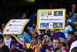 August 20, 2017 - Barcelona, Catalonia, Spain - Tribute from fans of FC Barcelona to the victims of the Barcelona attacks during the match between FC Barcelona vs Real Betis Balompie, for the round 1 of the Liga Santander, played at Camp Nou Stadium on 20th August 2017 in Barcelona, Spain. (Credit Image: © Urbanandsport/NurPhoto via ZUMA Press)