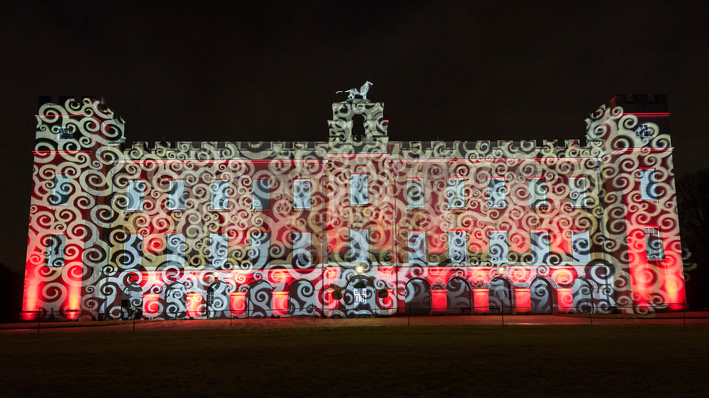 © Licensed to London News Pictures. 14/11/2019. LONDON, UK.  Preview on the evening before The Enchanted Woodland opens at Syon House in West London.  An illuminated trail takes visitors through gardens designed by Capability Brown, round an ornamental lake and ends at the spectacular Great Conservatory.  The show is open to the public 15 November to 1 December.  Photo credit: Stephen Chung/LNP