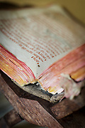 Worn book in Church of Vilupulli on Chiloe Island, Chile