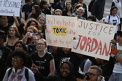 November 1, 2018 - College Park, Maryland, U.S - A ''Justice for Jordan'' rally and march took place at the University of Maryland in College Park the day after football coach DJ Durkin was fired as part of the aftermath of football player Jordan McNair's death this past summer.  Students and others seen assembled in front of the Main Administration building after having marched there from McKeldin Library.  Signs can be seen with the words ''Justice for Jordan'' and ''hey hey hoho this toxic culture has got to go!'' on them. (Credit Image: © Evan Golub/ZUMA Wire)