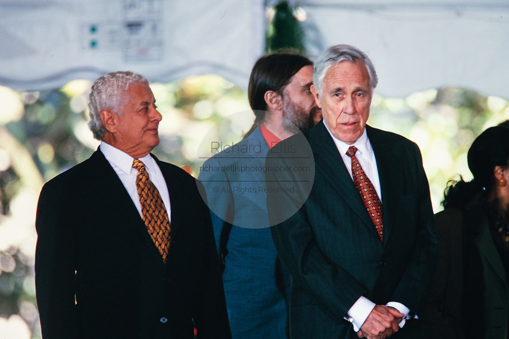 Latin percussionist Tito Puente, left, stands with Actor Jason Robards, right, during the National Medal of Arts and Humanities awards during a ceremony on the South Lawn of the White House September 29, 1997 in Washington, DC.