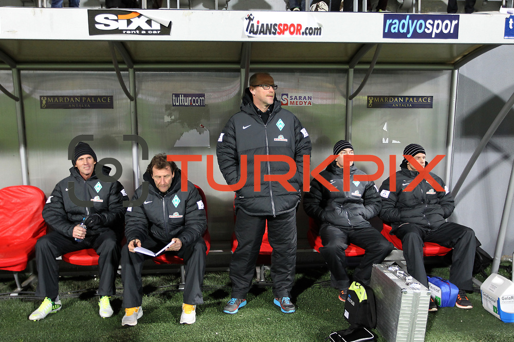 Werder Bremen's coach Thomas Schaaf (C) during their Tuttur.com Cup matchday 2 soccer match Trabzonspor between  Werder Bremen at Mardan stadium in AntalyaTurkey on 07 Monday January, 2013. Photo by Aykut AKICI/TURKPIX