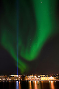 Aurora Borealis over Reykjavik city, Iceland