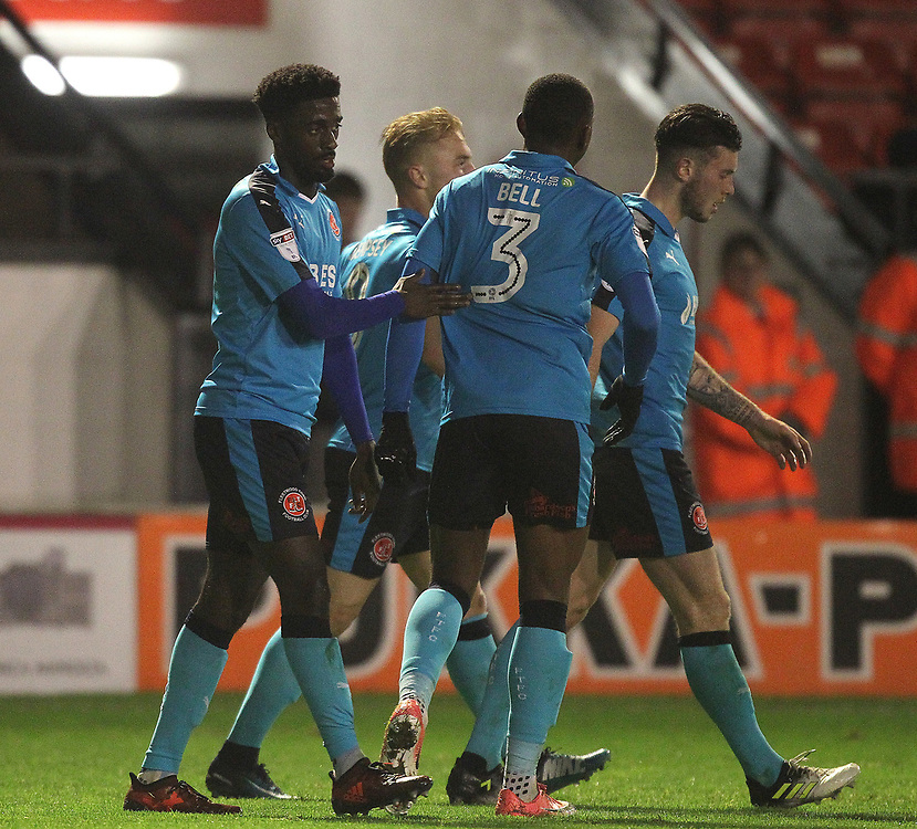 Fleetwood Town's Jordy Hiwula celebrates scoring his sides first goal <br /> <br /> Photographer Mick Walker/CameraSport<br /> <br /> The EFL Sky Bet League One - Walsall v Fleetwood Town - Tuesday 21st November 2017 - Bescot Stadium - Walsall<br /> <br /> World Copyright © 2017 CameraSport. All rights reserved. 43 Linden Ave. Countesthorpe. Leicester. England. LE8 5PG - Tel: +44 (0) 116 277 4147 - admin@camerasport.com - www.camerasport.com
