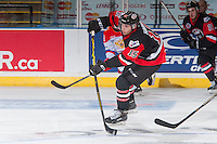KELOWNA, CANADA - NOVEMBER 9: Jansen Harkins #15 of Team WHL makes a pass against the Team Russia on November 9, 2015 during game 1 of the Canada Russia Super Series at Prospera Place in Kelowna, British Columbia, Canada.  (Photo by Marissa Baecker/Western Hockey League)  *** Local Caption *** Jansen Harkins;