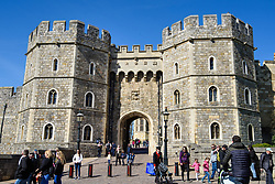 The exit from Windsor Castle in Windsor, Berkshire, at the start of the carriage procession route around Windsor planned for the upcoming wedding of Prince Harry and Meghan Markle. Picture date: Thursday April 5th, 2018. Photo credit should read: Matt Crossick/ EMPICS Entertainment.