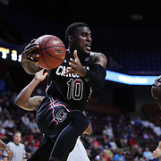 Duane Notice, South Carolina, drives to the basket during the St. John's vs South Carolina Men's College Basketball game in the Hall of Fame Shootout Tournament at Mohegan Sun Arena, Uncasville, Connecticut, USA. 22nd December 2015. Photo Tim Clayton