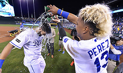 August 29, 2017 - Kansas City, MO, USA - The Kansas City Royals' Salvador Perez (13) douses Eric Hosmer with the Salvy Splash in cups after the team's 6-2 win against the Tampa Bay Rays at Kauffman Stadium in Kansas City, Mo., on Tuesday, Aug. 29, 2017. (Credit Image: © John Sleezer/TNS via ZUMA Wire)