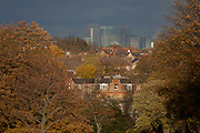 Seen through autumnal trees, a landscape in Herne Hill Lambeth SE24, south London and Canary Wharf in distant Docklands in the background on 18th November 2016, London, England.