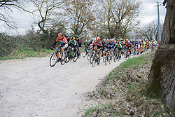 Christine Majerus leads the peloton across the first of seven gravel sectors - 2016 Strade Bianche - Elite Women, a 121km road race from Siena to Piazza del Campo on March 5, 2016 in Tuscany, Italy.