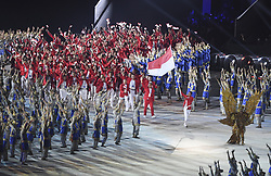 JAKARTA, Aug. 18, 2018  Delegation of Indonesia enters the Gelora Bung Karno (GBK) Main Stadium at the opening ceremony of the 18th Asian Games in Jakarta, Indonesia, Aug. 18, 2018. (Credit Image: © Pan Yulong/Xinhua via ZUMA Wire)