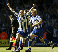 Fotball<br /> Photo Aidan Ellis, Digitalsport<br /> NORWAY ONLY<br /> <br /> Brighton and Hove Albion v Brisol City.<br /> Nationwide Divison 2 Play Off Final.<br /> Millenium Stadium Cardiff.<br /> 30/05/2004.<br /> Brighton's Nathan Jones leads the celebration's as the final whistle is blown