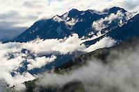 IFTE-NB-007637; Niall Benvie; View into the valley around Fliess from Kaunergrat visitor's centre; Austria; Europe; Tirol; horizontal; grey blue; forest woodland; 2008; July; summer; fog mist rain cloud; Wild Wonders of Europe Naturpark Kaunergrat