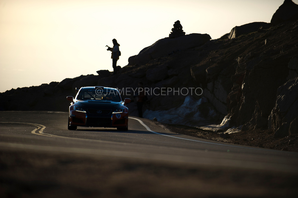 June 26-30 - Pikes Peak Colorado. Kenshiro Gushi runs his car during practice for the 91st running of the Pikes Peak Hill Climb.
