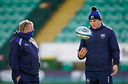 Sale Sharks forwards coach Dorian West talks with Northampton Saints defence coach Ian Vass before a Gallagher Premiership Round 13 Rugby Union match, Saturday, Mar. 12, 2021, in Northampton, United Kingdom. (Steve Flynn/Image of Sport)