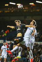 Blackburn Rovers' Sam Gallagher battles in the air with Leeds United's Liam Cooper <br /> <br /> Photographer Alex Dodd/CameraSport<br /> <br /> The EFL Cup Third Round - Leeds United v Blackburn Rovers - Tuesday 20 September 2016 - Elland Road - Leeds<br />  <br /> World Copyright © 2016 CameraSport. All rights reserved. 43 Linden Ave. Countesthorpe. Leicester. England. LE8 5PG - Tel: +44 (0) 116 277 4147 - admin@camerasport.com - www.camerasport.com