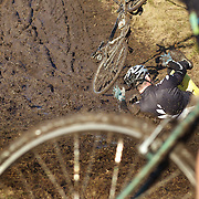 Mark Eliot falls from his bike during the thrills and spills of the New Zealand Cyclocross Championships sponsored by AJ Hackett Bungy, held at Jardine Park,  Queenstown, as part of the Queenstown WInter Festival. The men's event was won by Dan Warren from Hastings while Anja McDonald from Dunedin won the women's event. Queenstown, New Zealand, 2nd July 2011