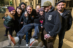 Cristian Sosa with friends and crew at Mooneyes 26th Annual Yokohama Hot Rod and Custom Show pre-party at the Pacifico Hall, Yokohama, Japan. Saturday December 2, 2017. Photography ©2017 Michael Lichter.