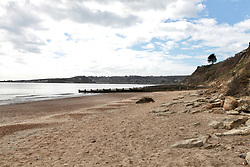 Covid 19 - North beach Swanage Dorset, deserted as people obey the Government restrictions, UK April 2020