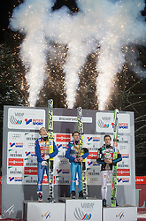 06.01.2015, Paul Ausserleitner Schanze, Bischofshofen, AUT, FIS Ski Sprung Weltcup, 63. Vierschanzentournee, Siegerehrung Gesamtwertung, im Bild v.l. Michael Hayboeck (AUT, 2. Platz), Stefan Kraft (AUT, 1. Platz), Peter Prevc (SLO, 3. Platz) // Michael Hayboeck of Austria ( L ), 1st placed Stefan Kraft of Austria ( C ), Peter Prevc of Slovenia ( L ) celebrates on podium during Overall Award ceremony of 63rd Four Hills Tournament of FIS Ski Jumping World Cup at the Paul Ausserleitner Schanze, Bischofshofen, Austria on 2015/01/06. EXPA Pictures © 2015, PhotoCredit: EXPA/ Johann Groder