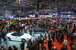 View of exhibition hall at Geneva International Motor Show 2017