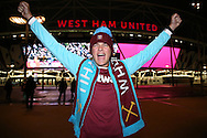 a West Ham United fan shows his support outside London Stadium before k/o. Premier league match, West Ham Utd v Manchester city at the London Stadium, Queen Elizabeth Olympic Park in London on Wednesday 1st February 2017.<br /> pic by John Patrick Fletcher, Andrew Orchard sports photography.