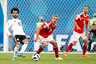 Egypt Mohamed Salah (L) and Russia Iury Gazinsky (R) during the 2018 FIFA World Cup Russia, Group A football match between Russia and Egypt on June 19, 2018 at Saint Petersburg Stadium in Saint Petersburg, Russia - Photo Stanley Gontha / Pro Shots / ProSportsImages / DPPI