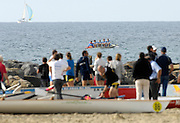 San Remo, ITALY,  Sat. M4X+  spectators watch the the start of the men's final, from the beach, 2008 FISA Coastal World Championships. Saturday 18/10/2008.[Photo, Peter Spurrier/Intersport-images] Coastal Rowing Course: San Remo Beach, San Remo, ITALY Equipment