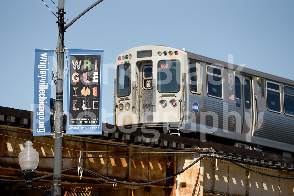 The CTA Red line rolls through the Wrigleyville neighborhood over Clark Street in Chicago, Illinois on Friday, Sept. 4, 2020. Photo by Mark Black