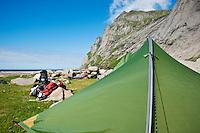 Scenic campsite at Bunes beach, Moskenesoy, Lofoten islands, Norway